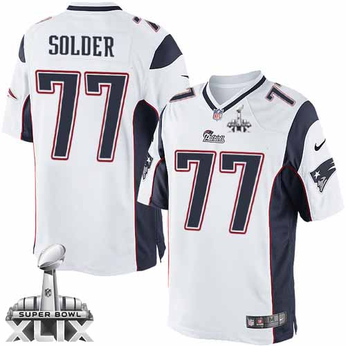 Nate Solder Youth Nike New England Patriots Elite White Super Bowl XLIX Jersey