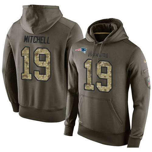 Nike New England Patriots 19 Malcolm Mitchell Green Salute To Service Pullover Hoodie